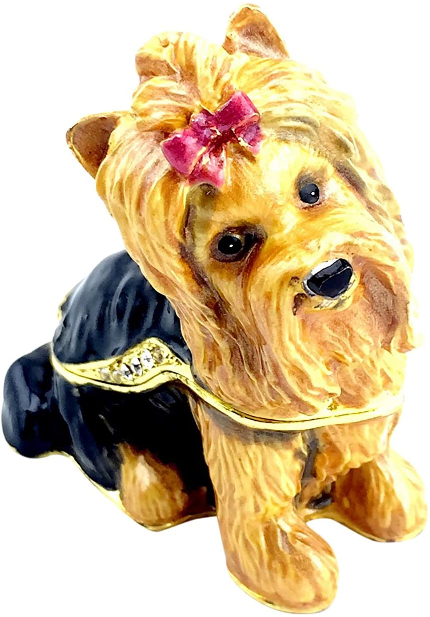 Kubla Craft Yorkshire Terrier Trinket Box, Accented with Austrian Crystals