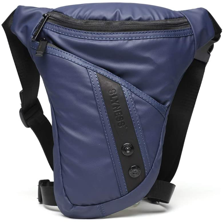 QINREN Men Motorcycle Rider Drop Leg Bag Portable Military Belt Waist Fanny Pack,Dark Blue,Oxford Cloth