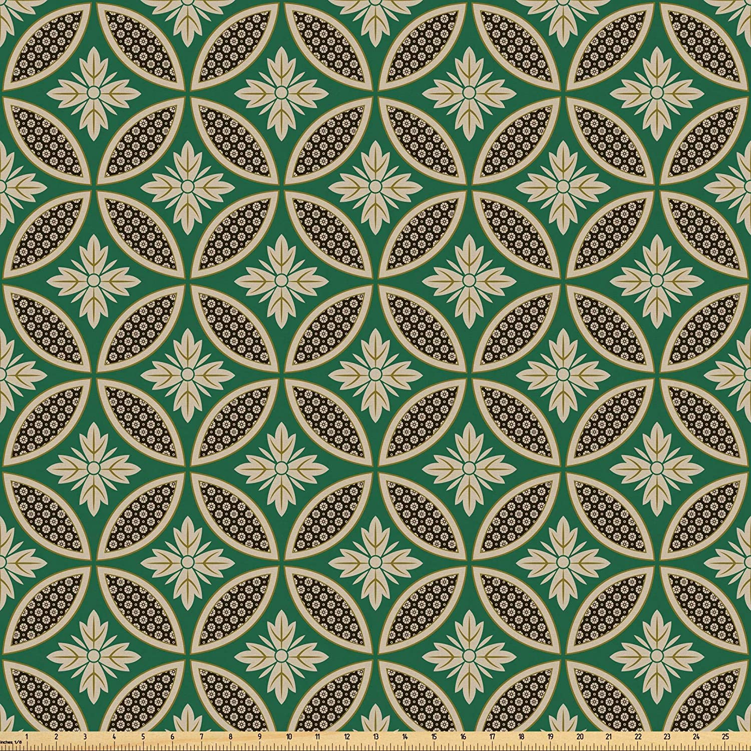 Lunarable Green Oriental Fabric by The Yard, Interlocking Ornamental Mosaic Tiles Petals Circular Shapes, Microfiber Fabric for Arts and Crafts Textiles & Decor, 2 Yards, Jade Green Beige and Black