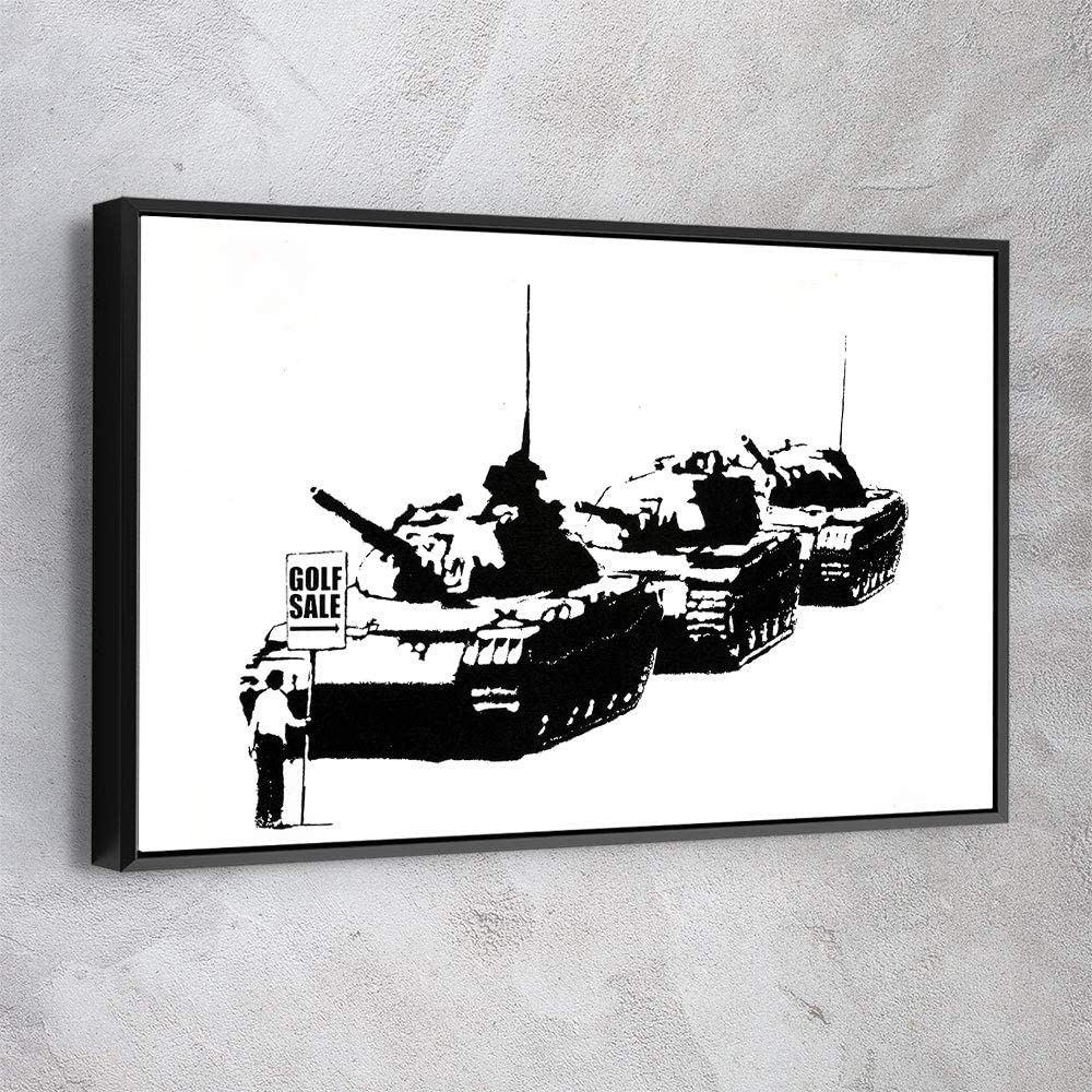 AWESOMETIK Golf Sale - Banksy Canvas Wall Art Ready to Hang. Made in USA (24in x 18in Modern Black Framed)