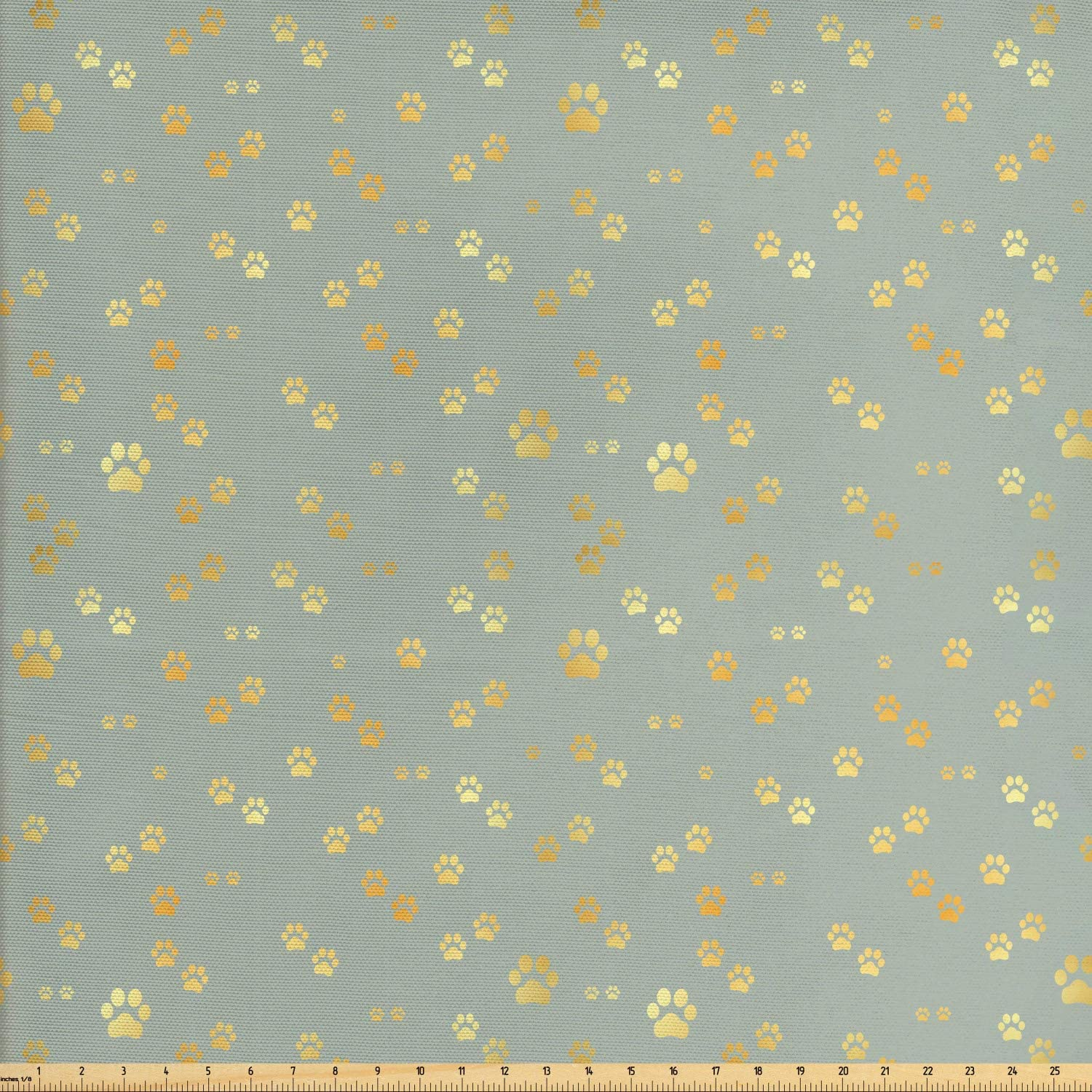 Ambesonne Paw Print Fabric by The Yard, Minimalist Themed Animal Pattern of Dog Pet Foot Marks Stains, Decorative Fabric for Upholstery and Home Accents, 1 Yard, Green Orange