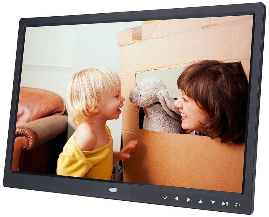 Bewinner 15'' Digital Photo Frame Portable HD 1280 800 Digital Picture Frame with Remote Controller Desktop Display Support IPS Display Photo/Music/Video Player Calendar Alarm, Gift 100-240V (Black)