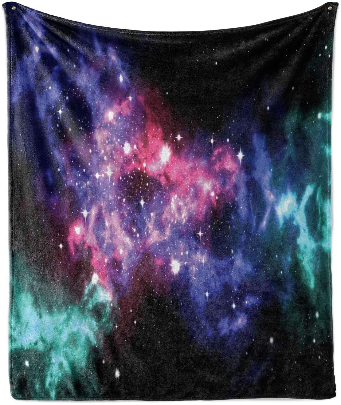 Ambesonne Outer Space Soft Flannel Fleece Throw Blanket, Stars and Dusty Gas Cloud in Planetary Cosmos Universe Print, Cozy Plush for Indoor and Outdoor Use, 50