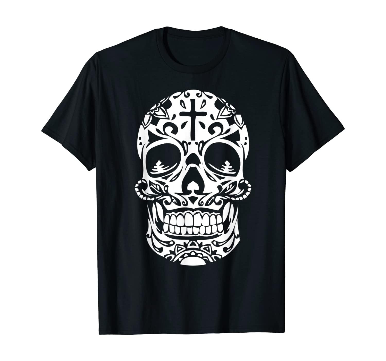 Mexican Sugar Skull Flag Pride Calavera Day Dead Gift Shirt T-Shirt