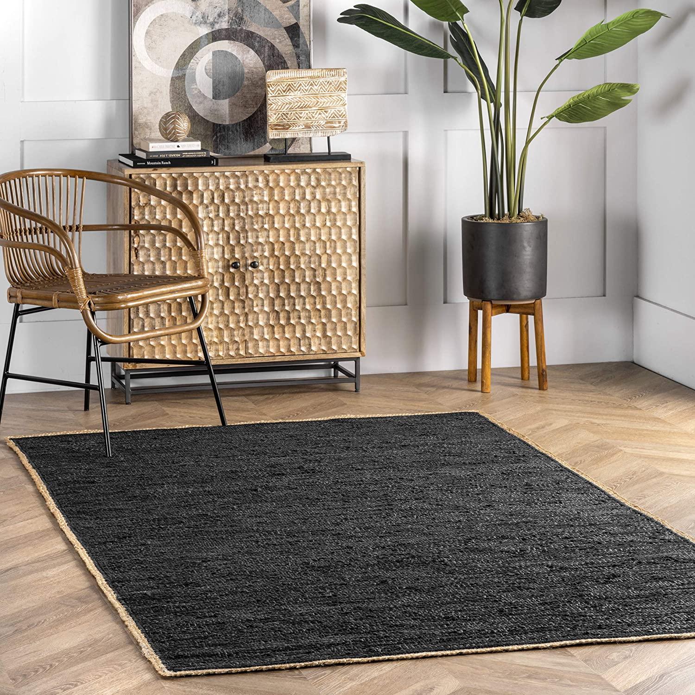 nuLOOM Koda Solid Leather Flatweave Area Rug, 3' x 5', Black