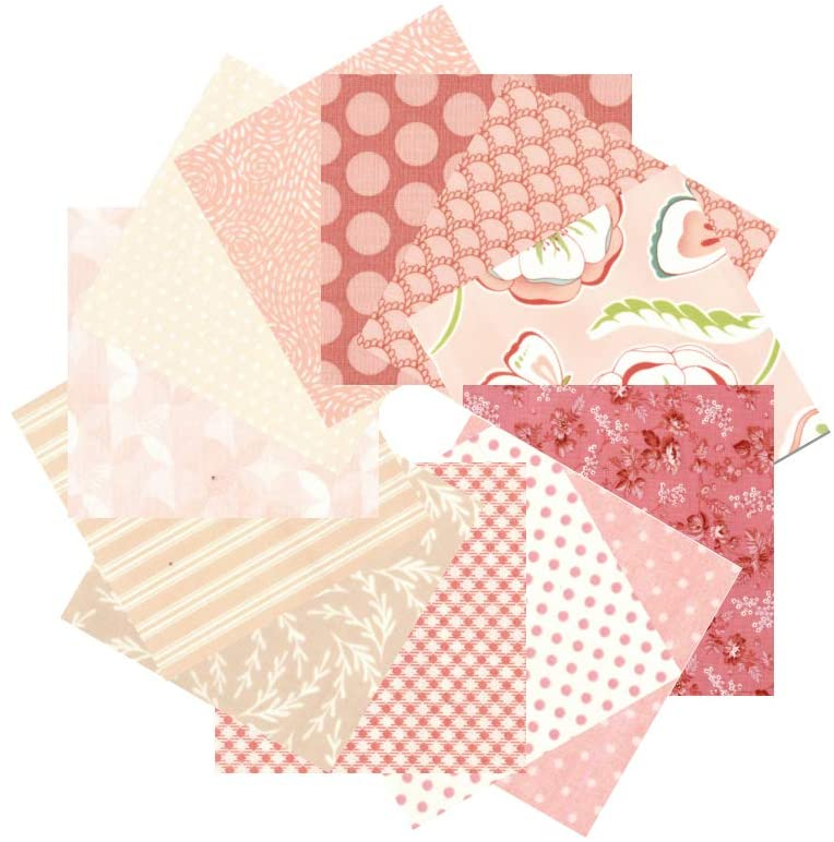 12 PCS 17.5 x 10.5 inches (44 x 25 cm) 100% Cotton Craft Fabric Bundle for Patchwork 12 Different Pattern Pre-Cut Quilting Fabric Fat Eighths Square for DIY Craft Sewing (Pink Pattern)