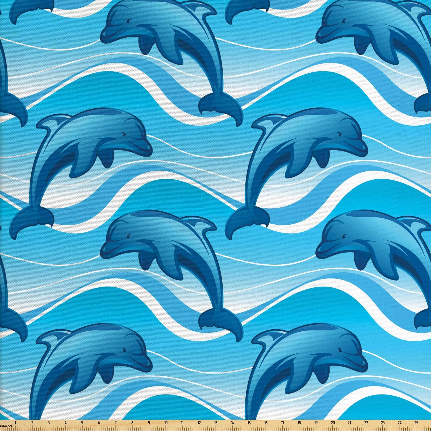 Lunarable Dolphin Fabric by The Yard, Dolphin Illustration Jumping Waves with Large Mammal Friendly Ocean Animal, Decorative Fabric for Upholstery and Home Accents, 2 Yards, Azure Blue