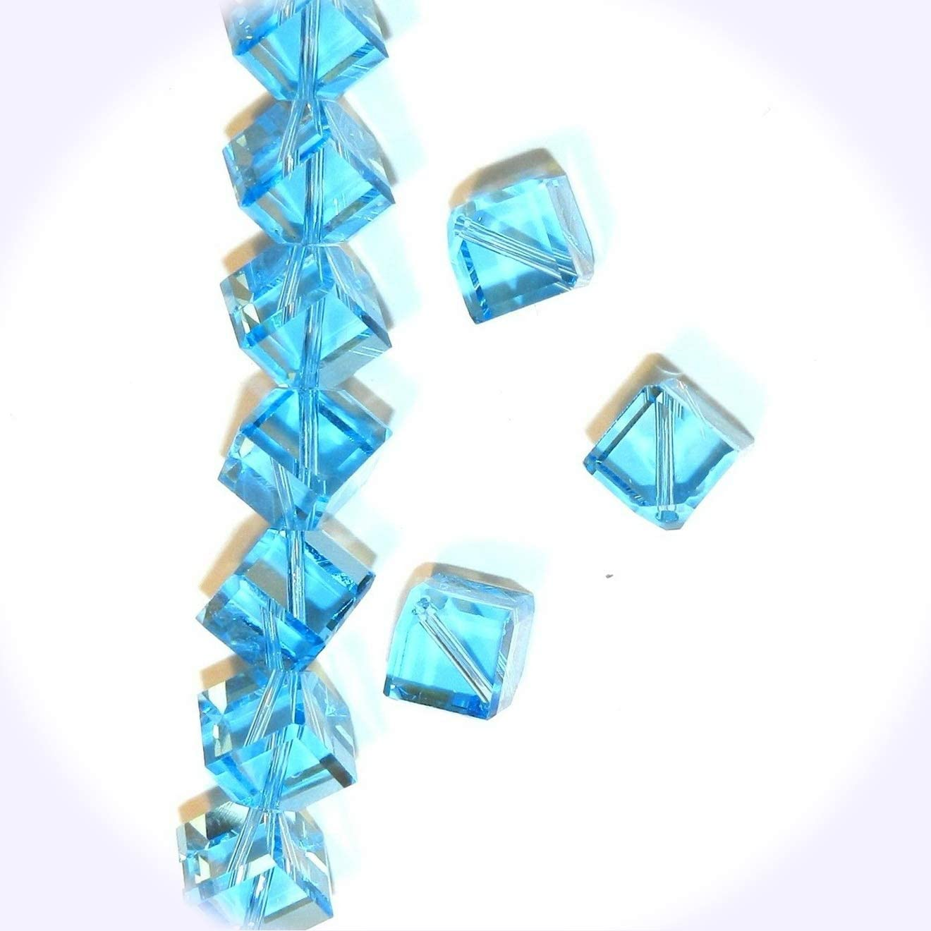 New Aquamarine Blue 8mm Square Diamond Dice Crystal Jewelry-Making Beads 12pc DIY Craft Supplies for Handmade Bracelet Necklace
