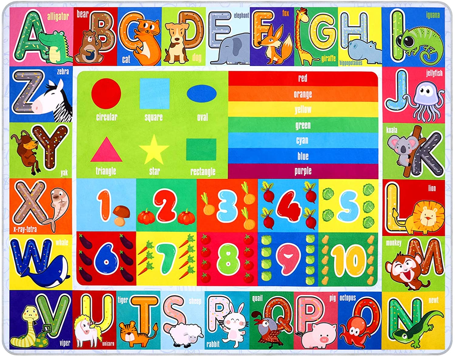 IMIKEYA Playtime Collection ABC, Numbers and Shapes Educational Area Rug Soft Toddlers Kids Play Rug Mat Learning Mat for Classroom Bedrooms, 55x43in