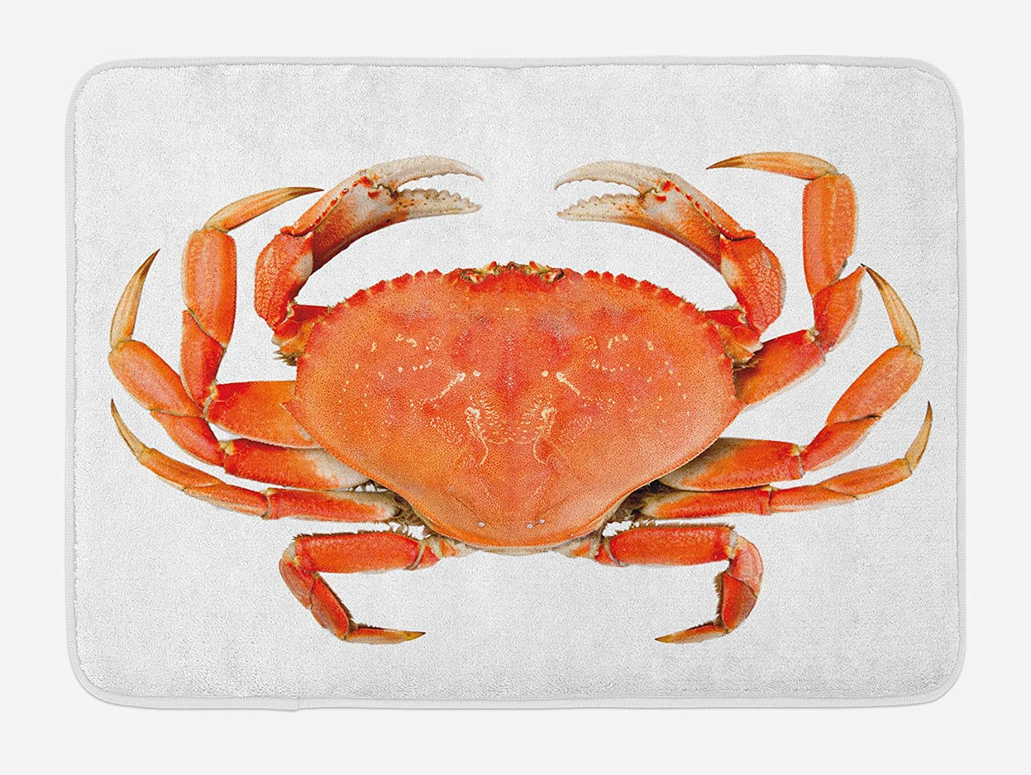 Ambesonne Crabs Bath Mat, Sea Animals Theme a Cooked Dungeness Crab with National Marks Digital Image Print, Plush Bathroom Decor Mat with Non Slip Backing, 29.5
