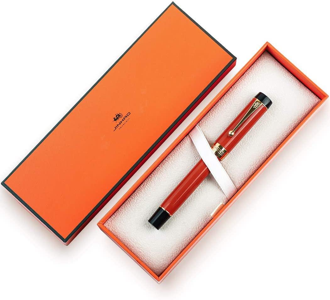 JINHAO Centennial 100 Fountain Pen 18KGP Golden Plated Acrylic Ink Pen (Orangered, M Nib)