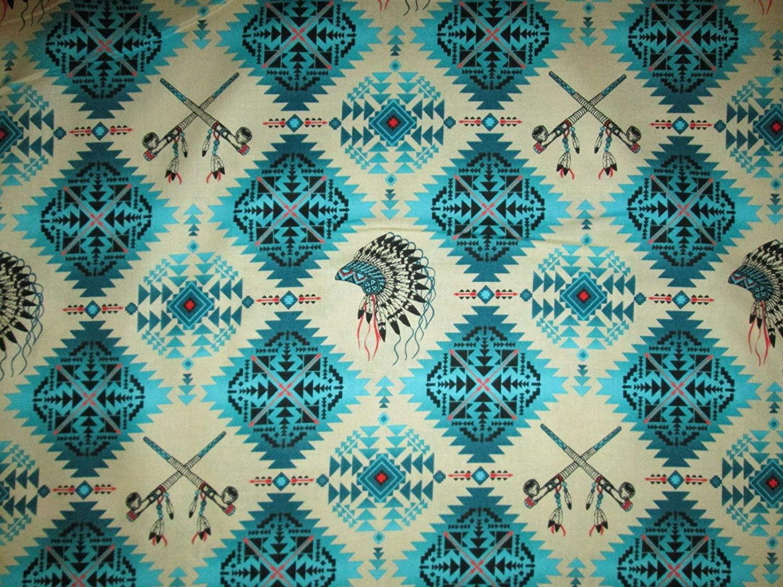 Native American Indian Headdress Peace Pipe Teal Cotton Fabric 1/2 Half Yard(18x 44)