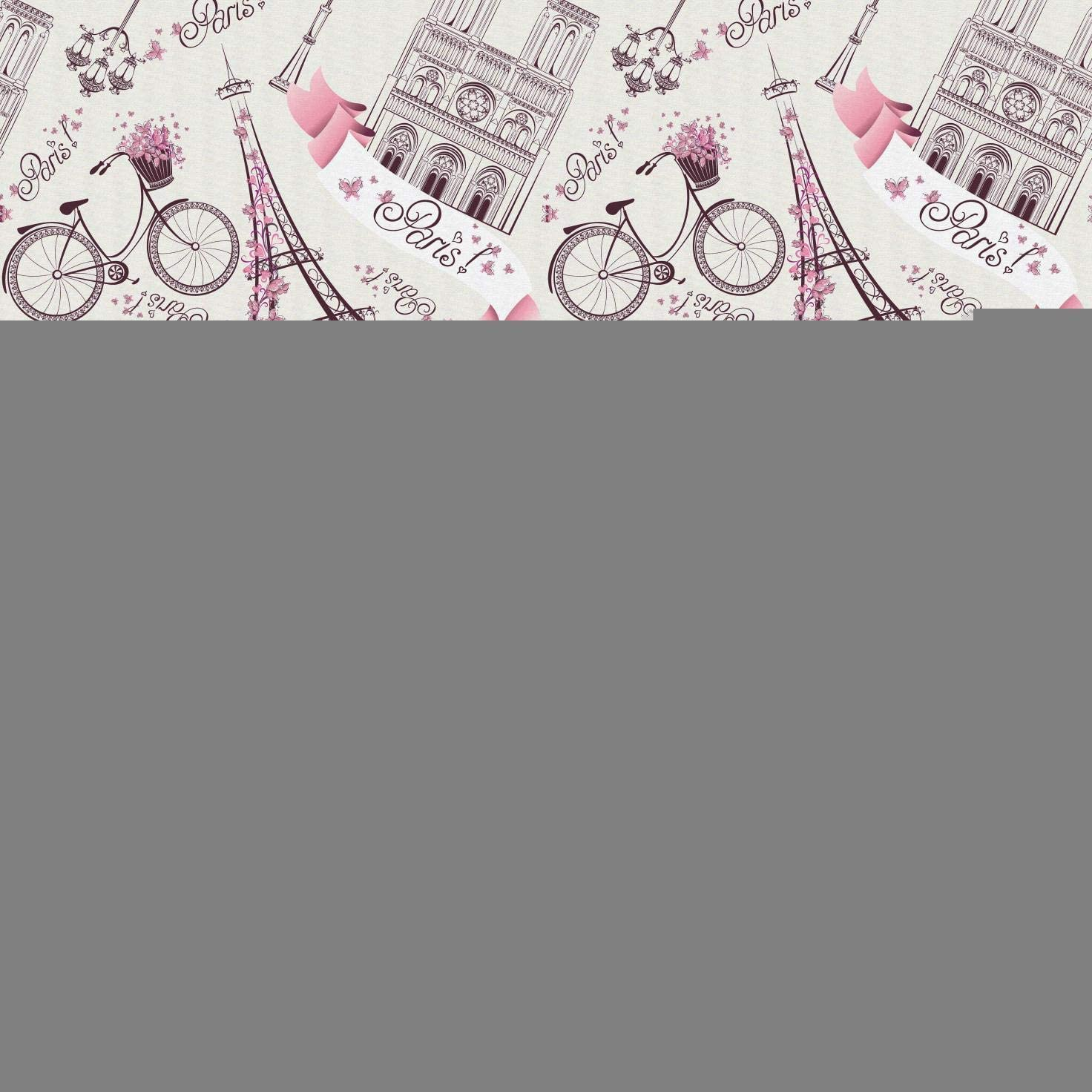 Lunarable City Love Fabric by The Yard, Iconic Elements of Paris Hearts on The Eiffel Tower and a Bicycle, Microfiber Fabric for Arts and Crafts Textiles & Decor, 10 Yards, Purple Pink
