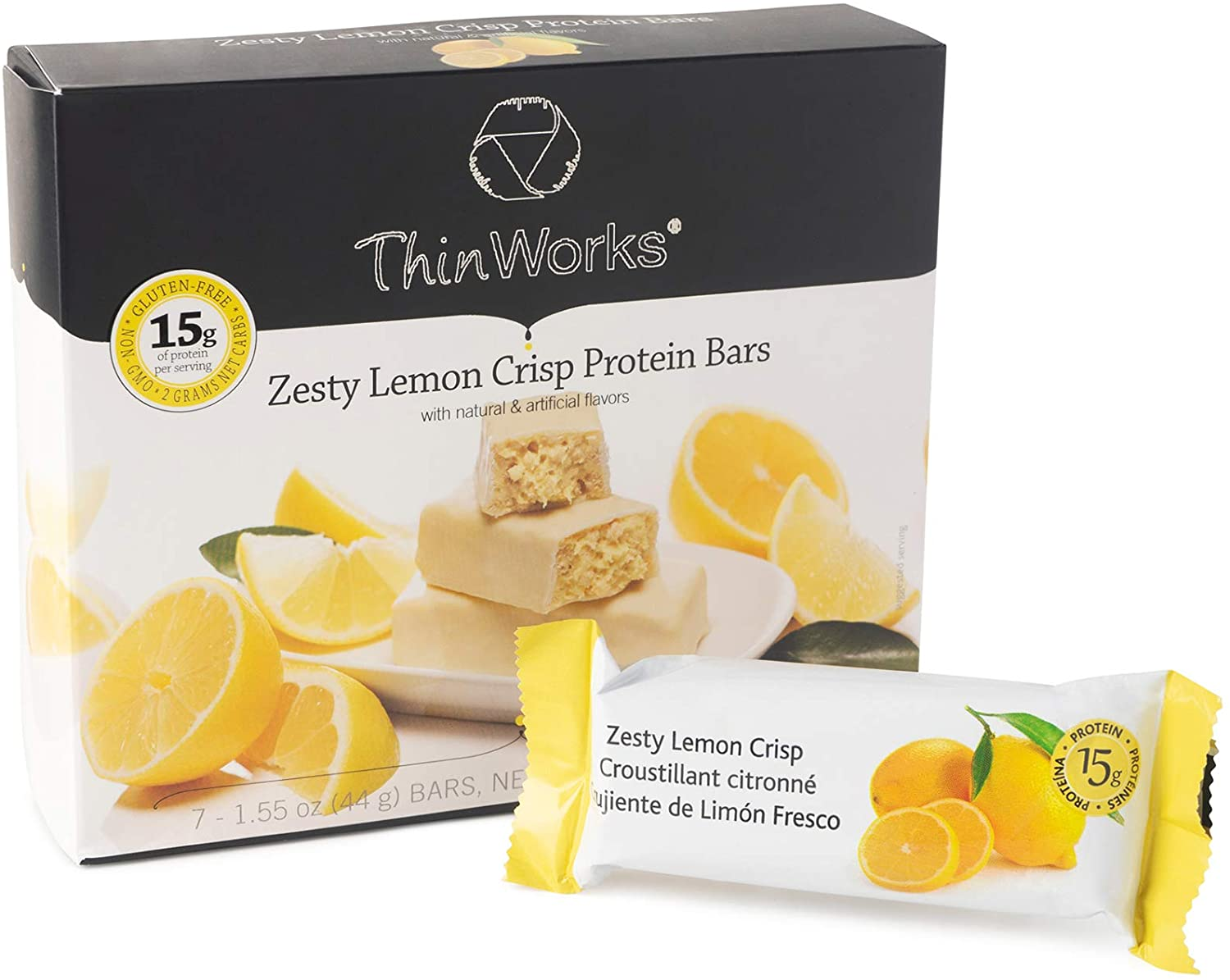 ThinWorks Zesty Lemon Crisp Low-Carb Protein Bars, Low-Calorie Snacks for Weight Loss and Healthy Meals