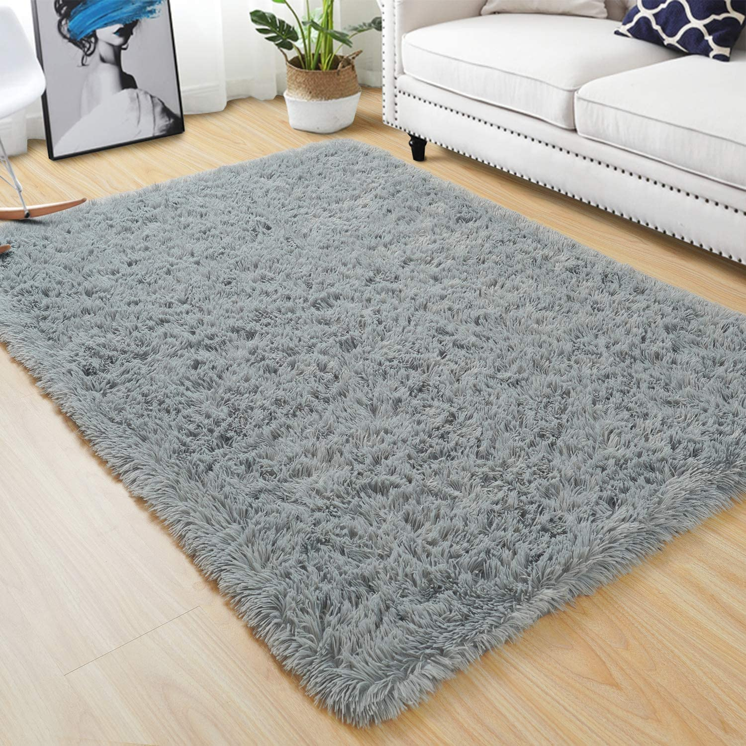 Quenlife Fluffy Bedroom Rug Plush and Soft Nursery Rugs Shaggy Carpet for Kids Grils Room Furry Children Home Decoration Shag Floor Rugs with Anti-Slip Bottom, 3 x 5ft, Grey