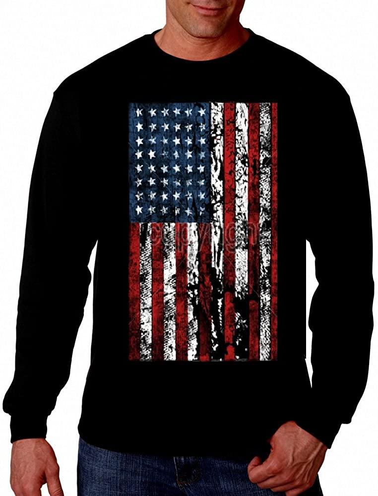 American Flag Mens T-Shirt Long Sleeve Tee United States USA Tattered Flag Tee