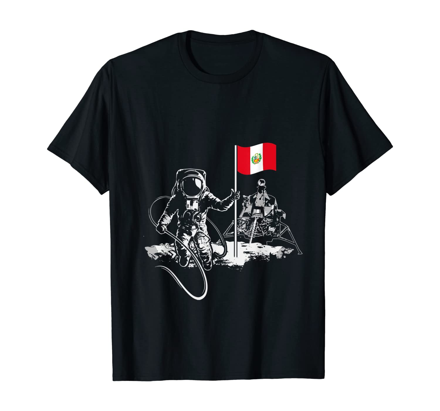 Flag Peru Astronaut Satellite Space T-Shirt