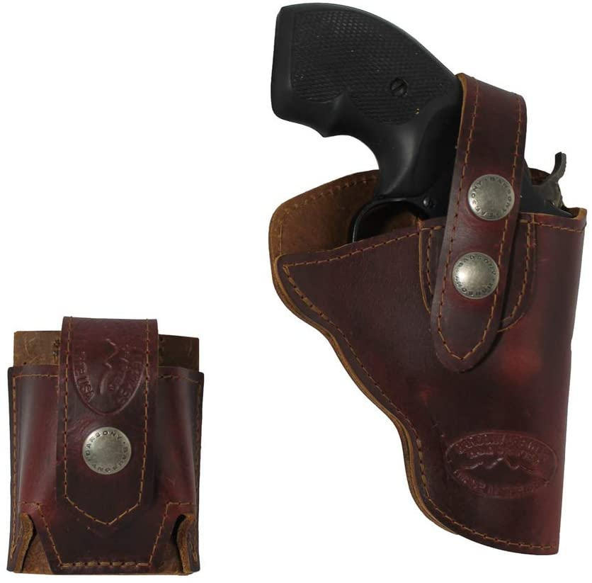 Barsony New Burgundy Leather Outside The Waistband Holster + Speed-Loader Pouch for Snub Nose 2