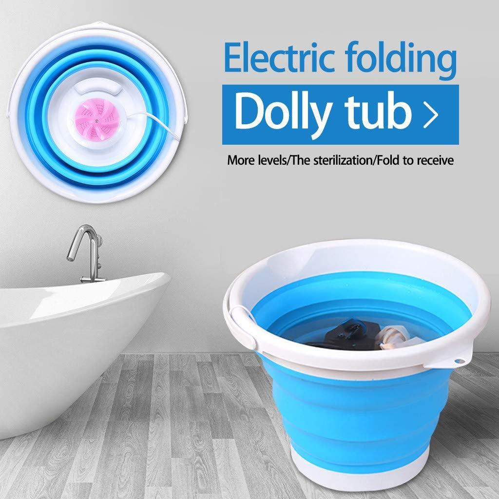 Portable Mini Turbo Washing Machine with Foldable Tub Hapkanba Ultrasonic Turbine Washer, USB Powered Mini Travel Laundry Washer, Mini Turbo Washer Suit for Camping Apartments Dorms (Pink)