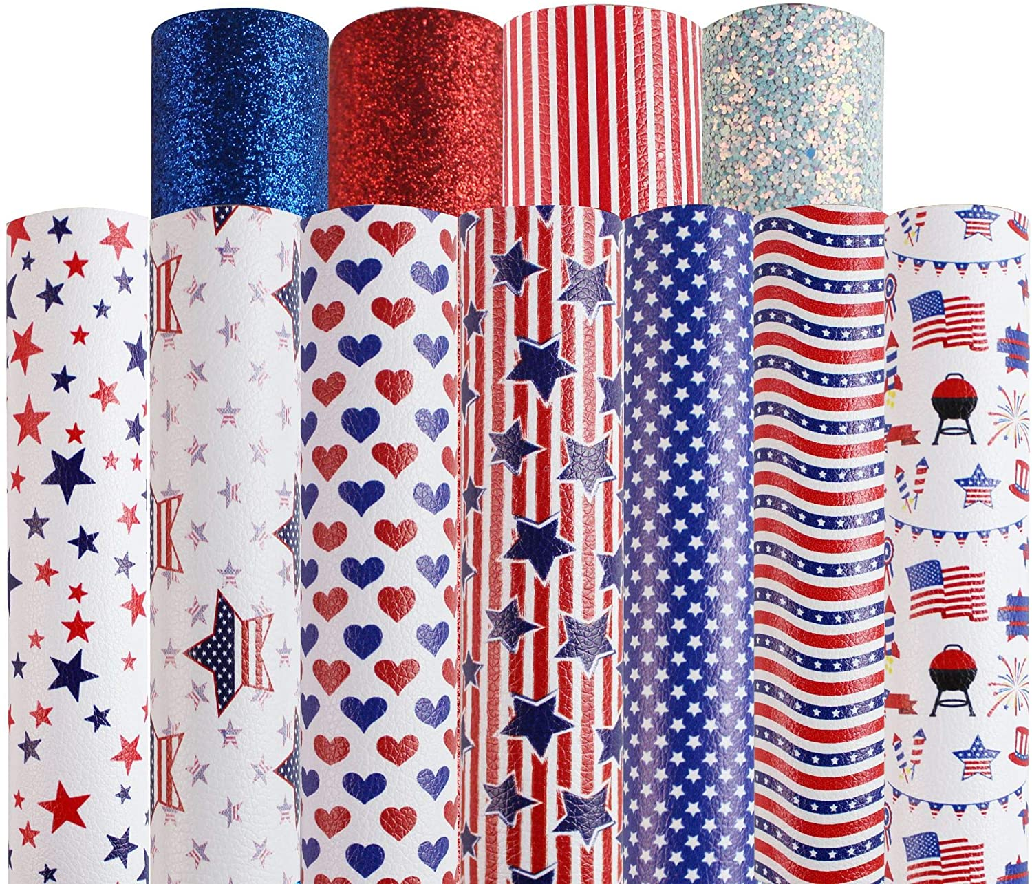 Faux Leather Fabric Sheet Set American Flag Elements Glitter Shiny Faux Leather Sheets Assorted Litchi Sequins Synthetic Leather Sheets for DIY Crafts Sewing Making Bows Earrings Hair Clips Supplies