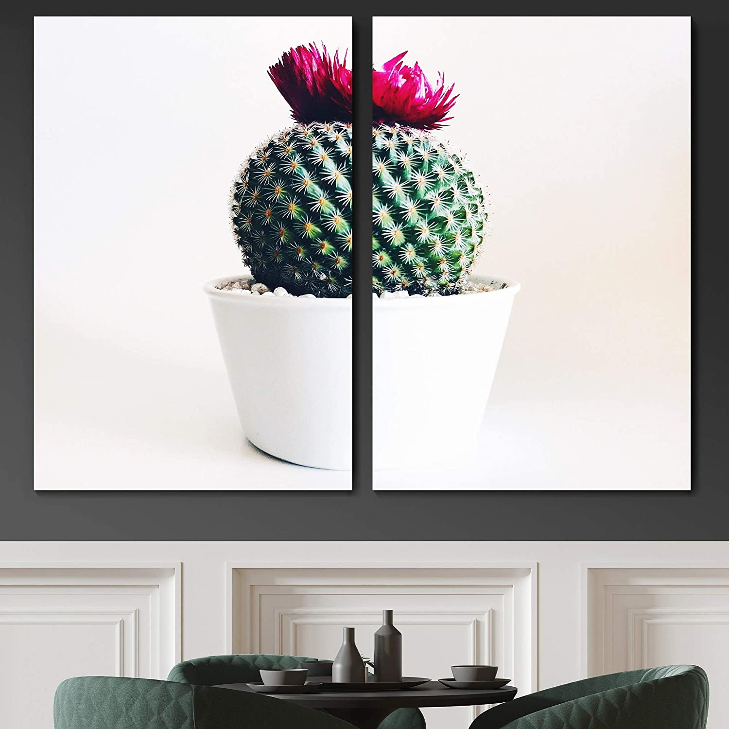 Sign Leader Potted Cactus Flower Wall Art Botanical Canvas Print for Living Room Bedroom Colorful Floral Realism Photography - 24x36 x 2 Panels