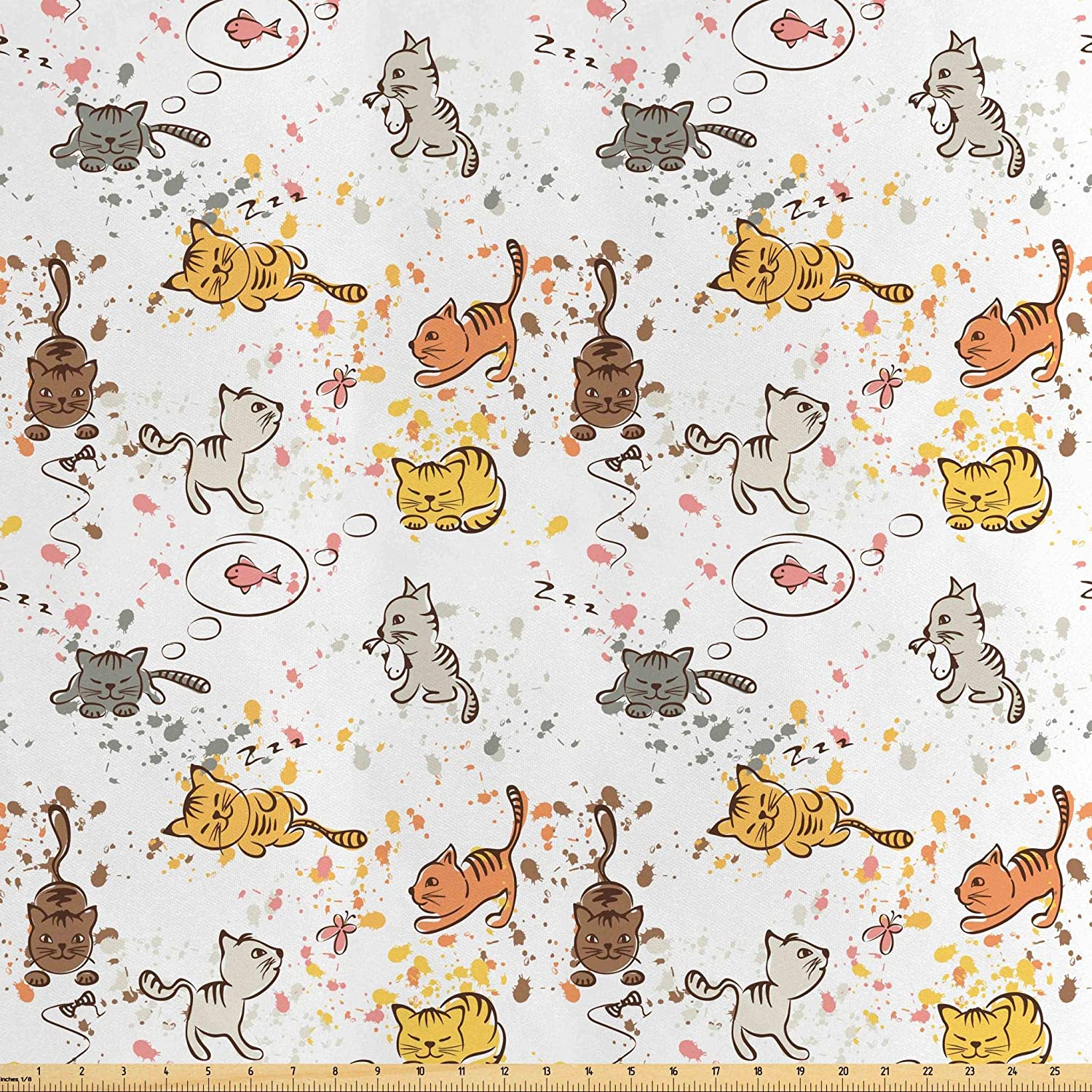 Lunarable Cats Fabric by The Yard, Funny Cats Sleeping Hunting Chasing Butterflies Dreaming of Fish with Color Splashes, Decorative Satin Fabric for Home Textiles and Crafts, 2 Yards, Multicolor