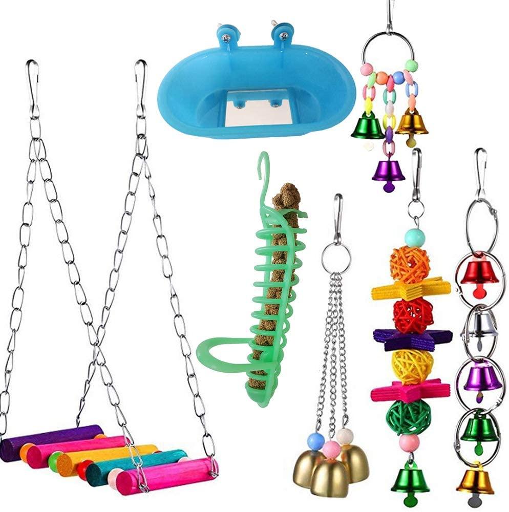 MoO1deer Bird Toy, Parrot Swing, Bird Parrot Toys, Bird Swing Toy, 7Pcs Pet Bird Parrot Bell Ball Bathtub Feeder Hanging Cage Swing Bite Chew Toy for Parrots, Parakeet, Cockatiel Multi