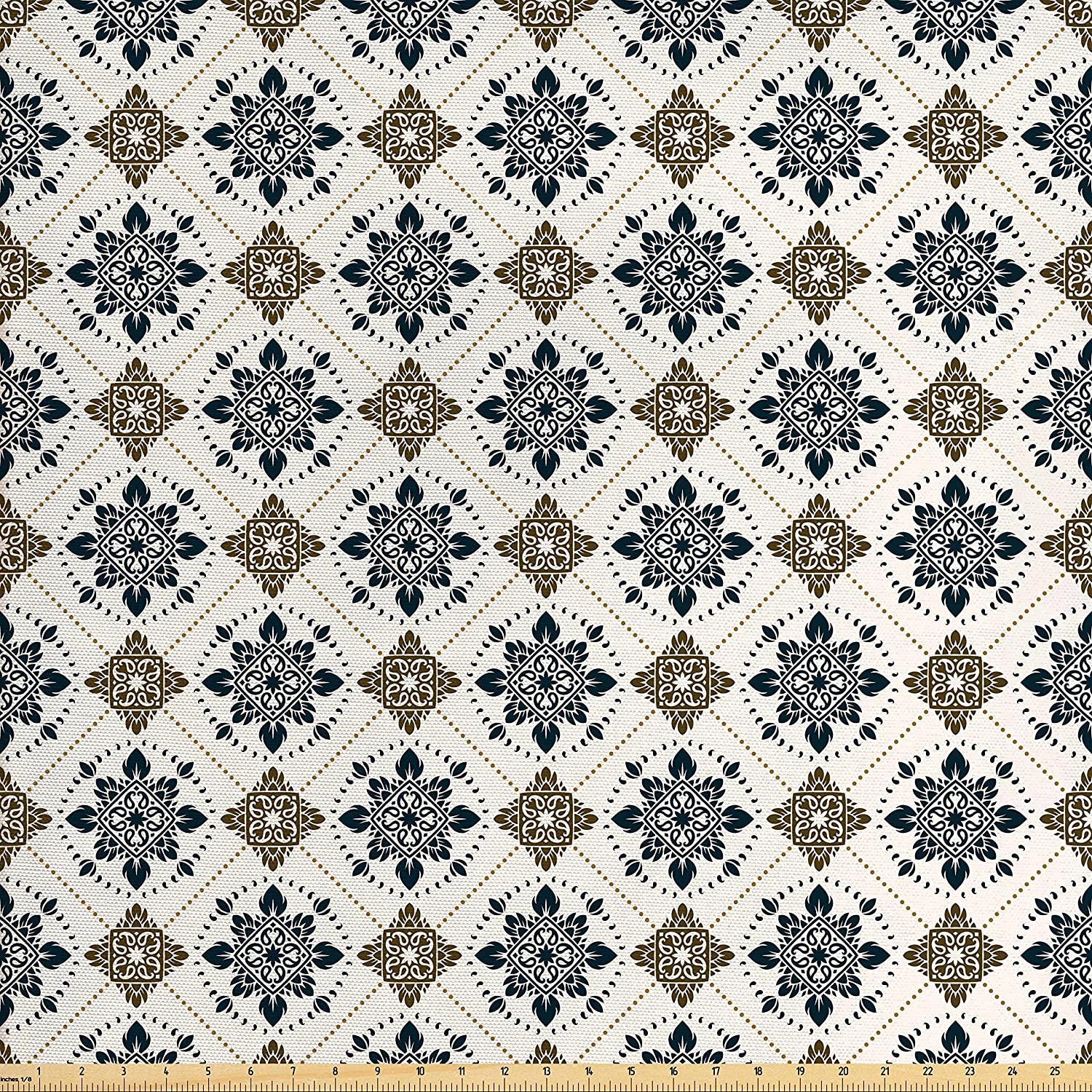 Ambesonne Persian Fabric by The Yard, Retro Boho Welsh Pears with Persian Pickles Traditional Motif Design Print, Decorative Fabric for Upholstery and Home Accents, Brown Blue