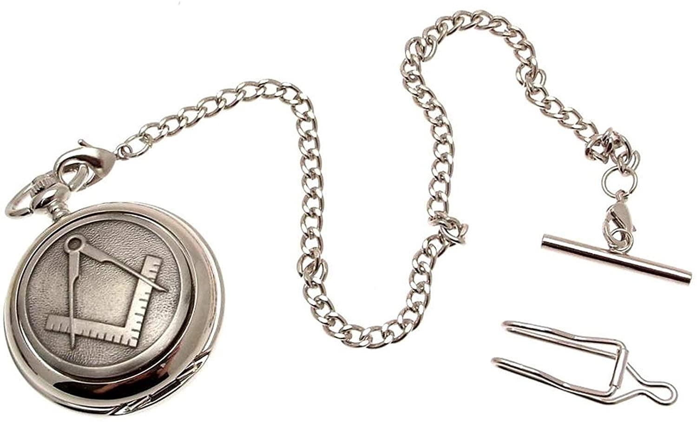 Pocket Watch - Solid Pewter Fronted Mechanical Skeleton Pocket Watch - Masonic Design 37
