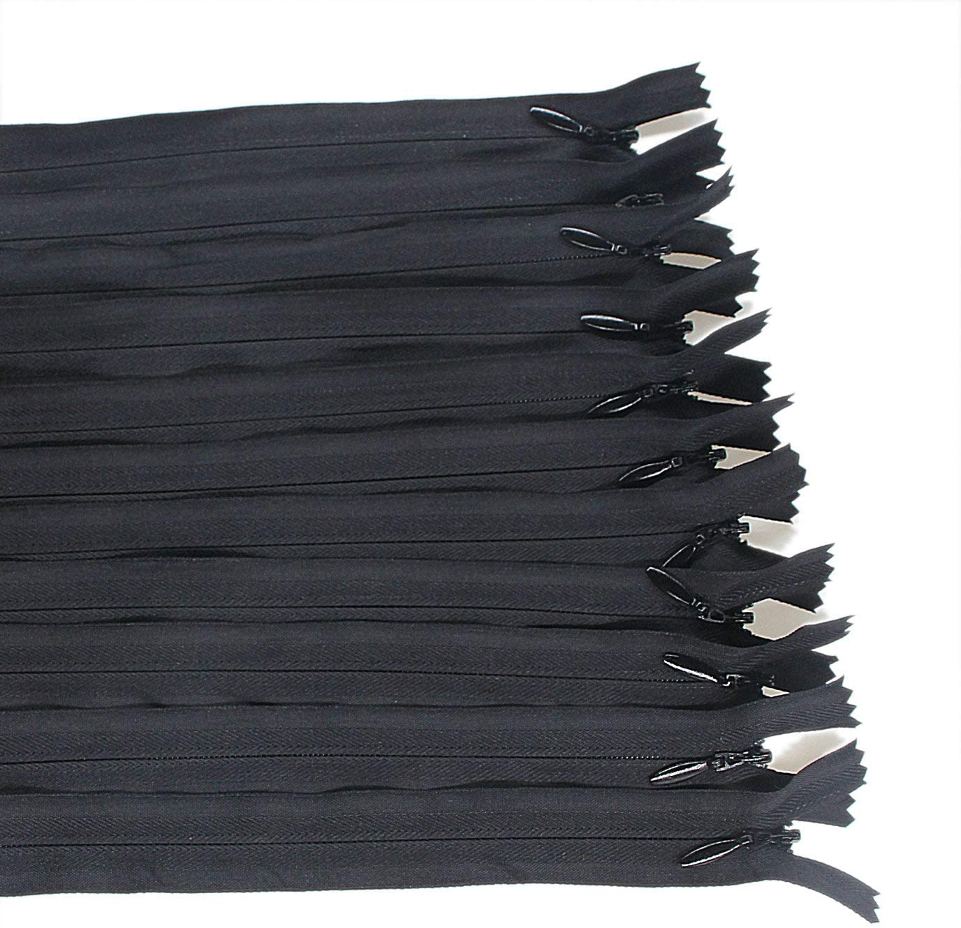 25PCS Invisible Nylon Coil Zipper,Clothing Zipper,DIY Sewing Tools for Craft Special(16 inch,Black) Leekayer