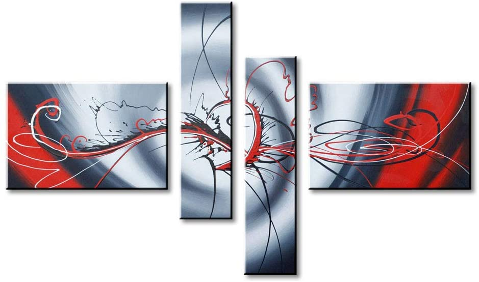 Hand-painted Red Abstract Oil Painting on Canvas Modern Wall Art Decor