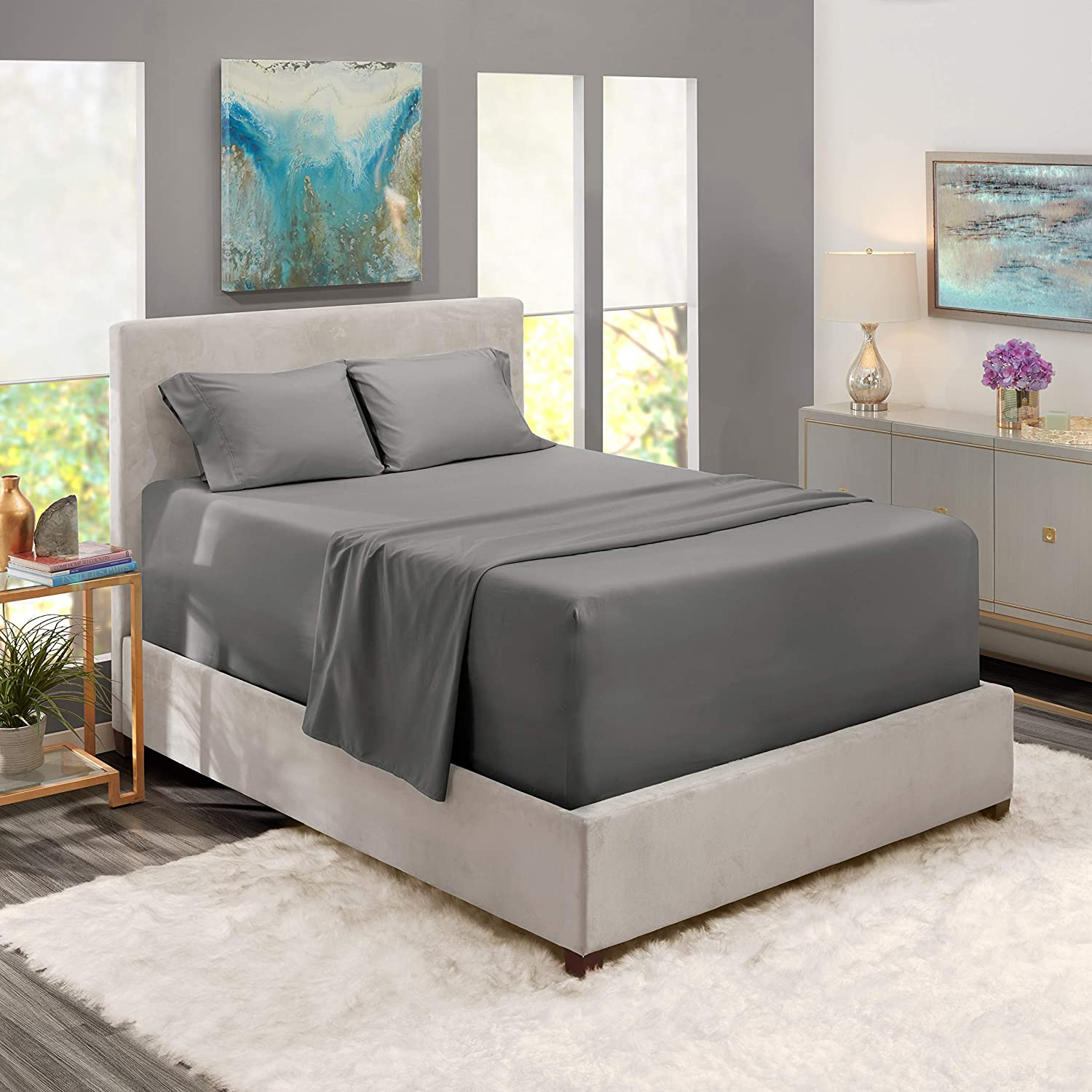 Cal King Size Sheet Set - 4 Piece - Hotel Luxury 100% Cotton Bed Sheets - Extra Soft - 15