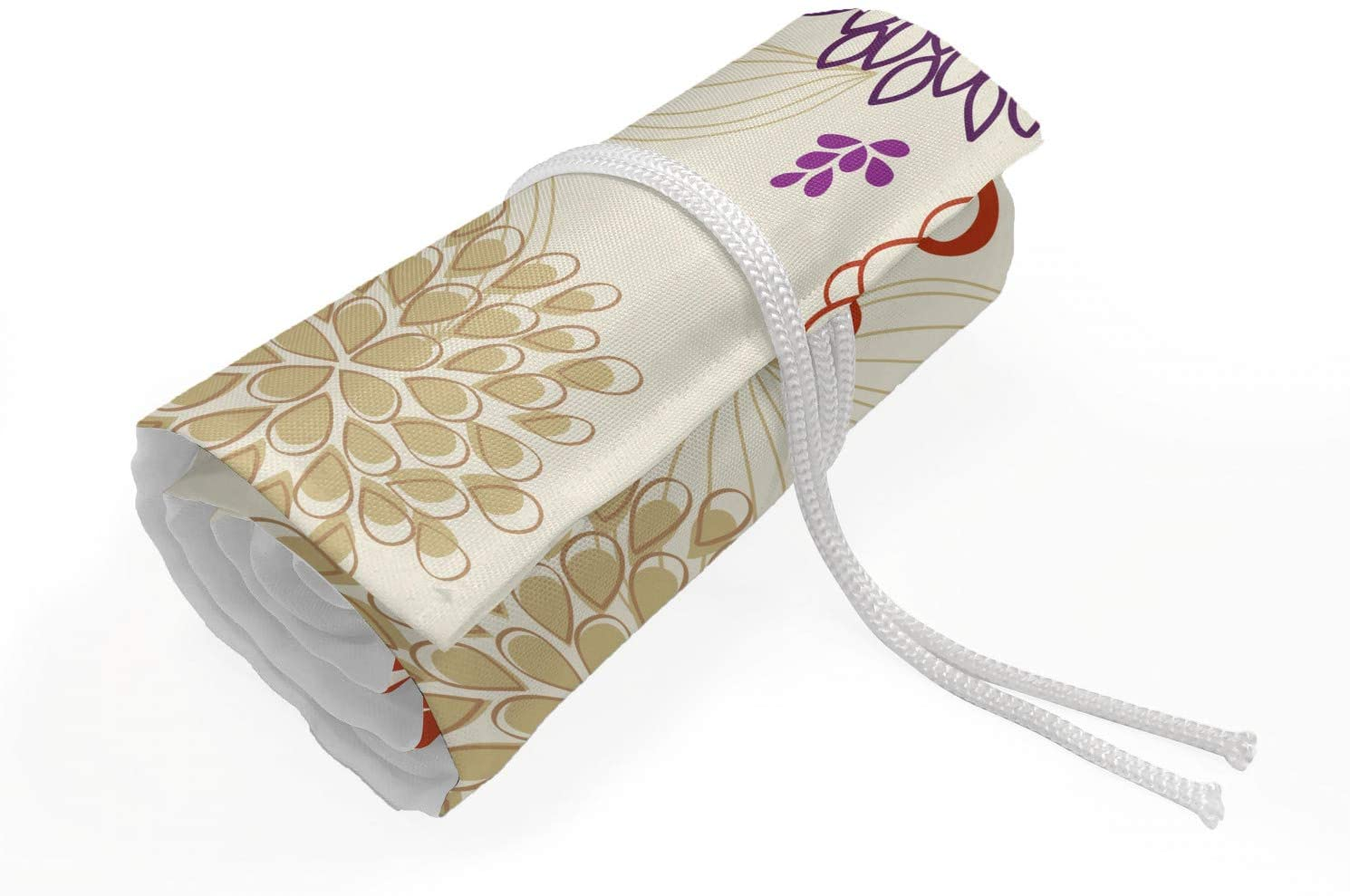 Lunarable Beige Roll Up Pencil Holder, Colored Ornate Flowers and Leaves Blossoms Bohemian Floral Swirls Art, Painting Drawing Pencils Case for Artists Students, 48 Loops, Red Purple Beige