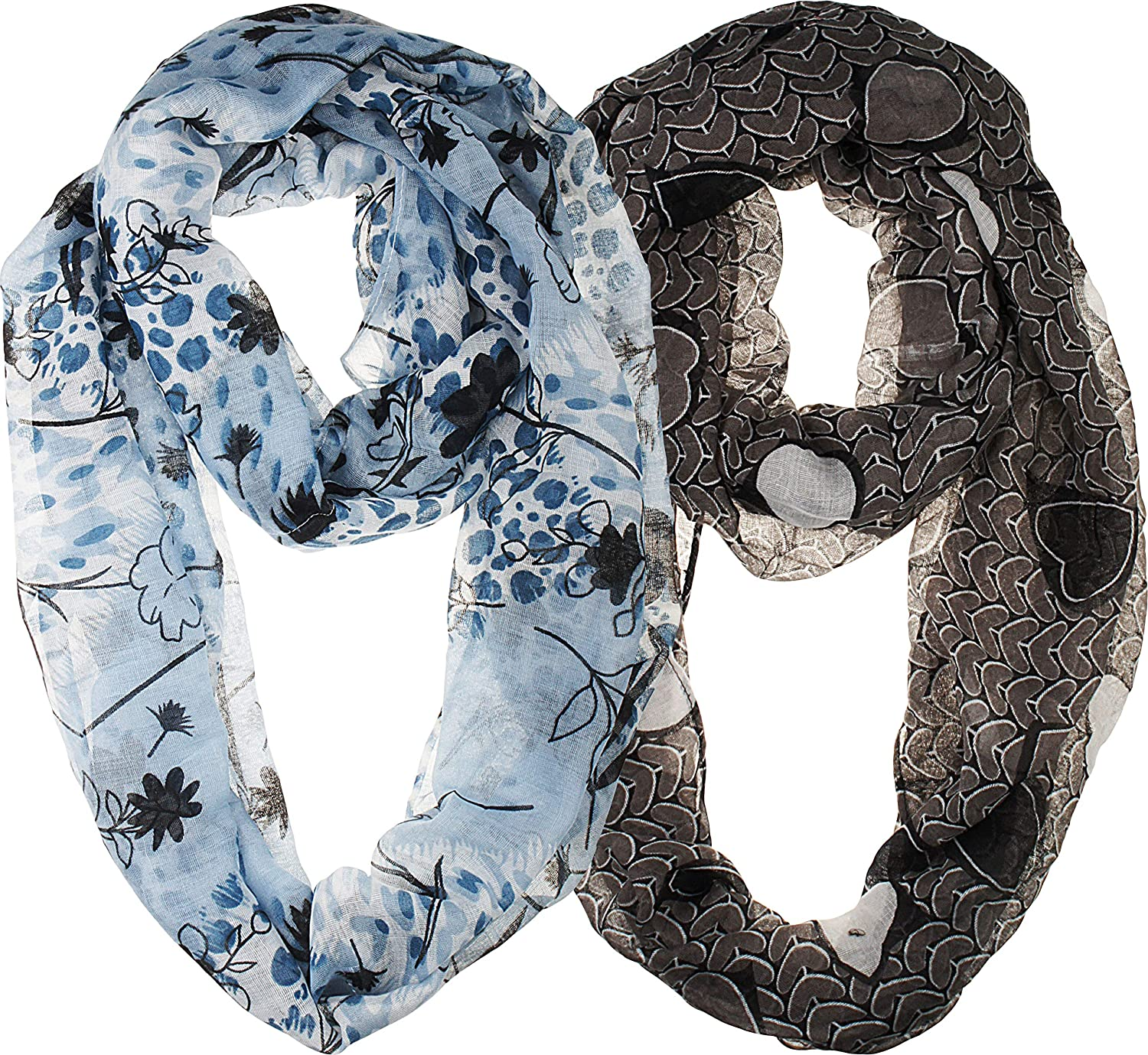 2 Pack of Soft Lightweight Elegant Sheer Infinity Scarf Head Wrap