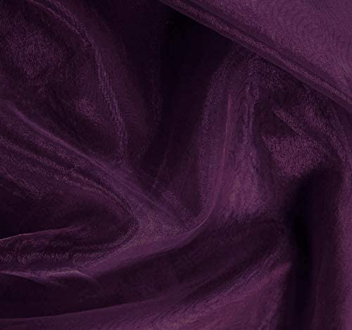 """VDS Organza Fabric 44"""" inches by The Yard for Wedding Décor Dress Fashion Crafts Decorations (Pack of 35 Dark Purple)"""