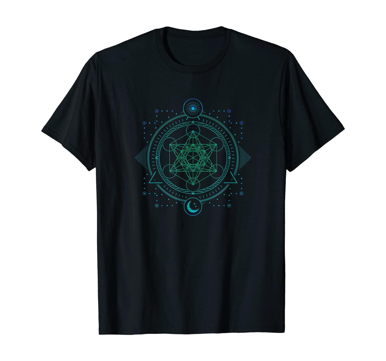 Sri Yantra Metatron Holy Cube Mandala Geometry T-Shirt