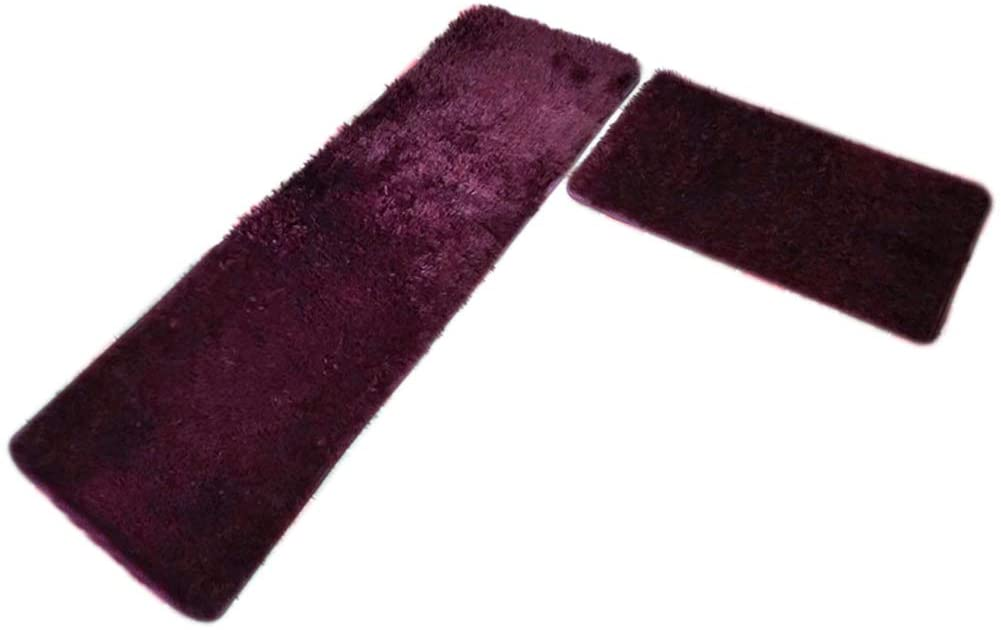 PandaLily Super Soft Indoor Non Slip Carpet 2Pcs/Set Anti-Slip Thicken Floor Carpet Mat Cushion Home Bathroom Kitchen Pads Wine Red