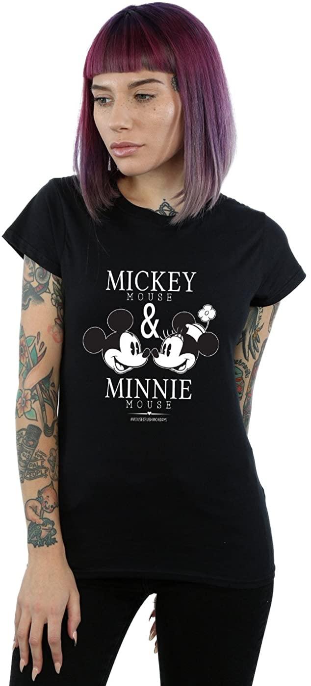 Disney Women's Mickey and Minnie Mouse Mousecrush Mondays T-Shirt Black Medium