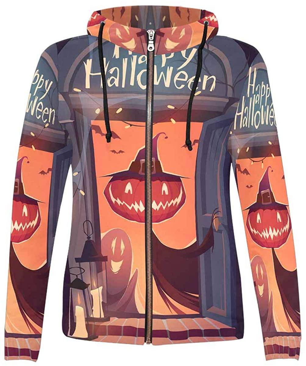 InterestPrint Funny Design Women's Zipper Hoodies Sweatshirt
