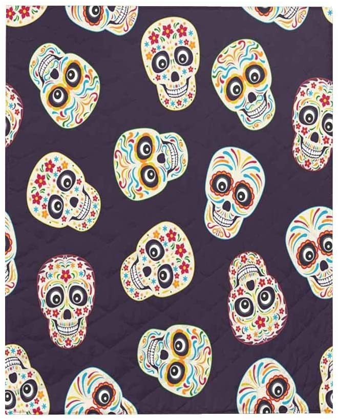 InterestPrint Mexican Sugar Skull Soft All Season Quilt Throw Blanket for Bed, Couch or Sofa 40x50