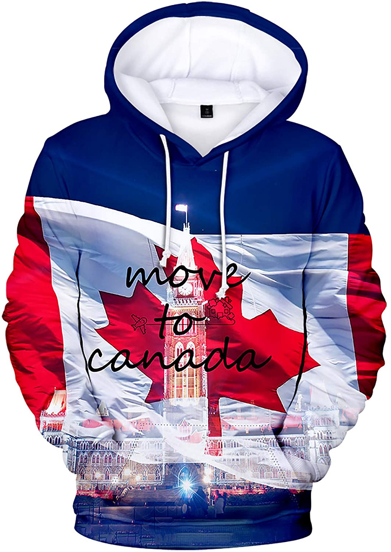 Move to Canada Red Maple Leaf Autumn Winter Hoodie Men Women Pullover Sweatshirt