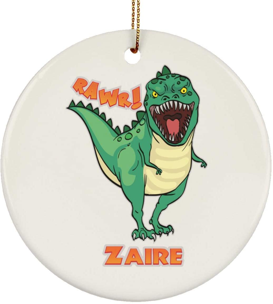 Weezag Zaire Dinosaur T-Rex Christmas Tree Ornaments Decorations, Custom Name Personalized Gifts for TRex Dinosaur Animal Lovers, 9241