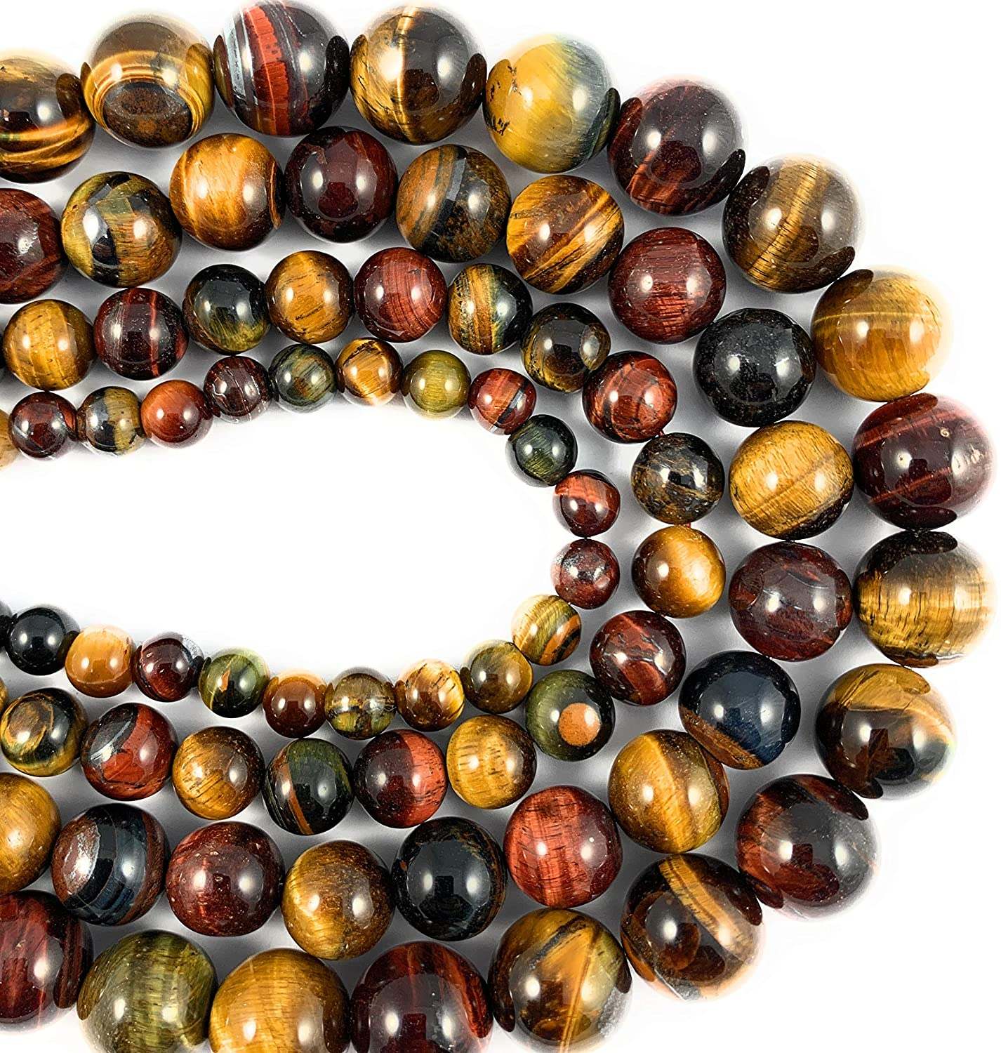 Beadalgo - 4 mm Natural Multi Color Tiger Eye Gemstone Round Beads for Jewelry Making - 15.5 inch Strand.
