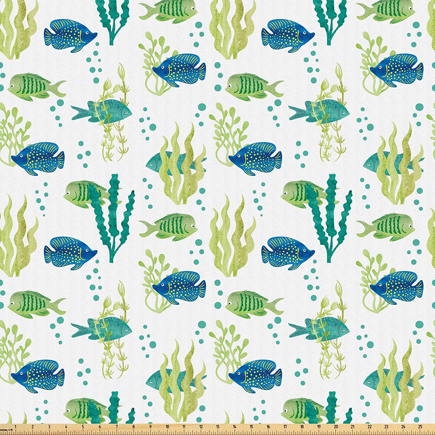 Lunarable Aquarium Fabric by The Yard, Different Tropical Fish and Seaweeds Exotic Marine Watercolor Artwork, Microfiber Fabric for Arts and Crafts Textiles & Decor, 1 Yard, Avocado Green