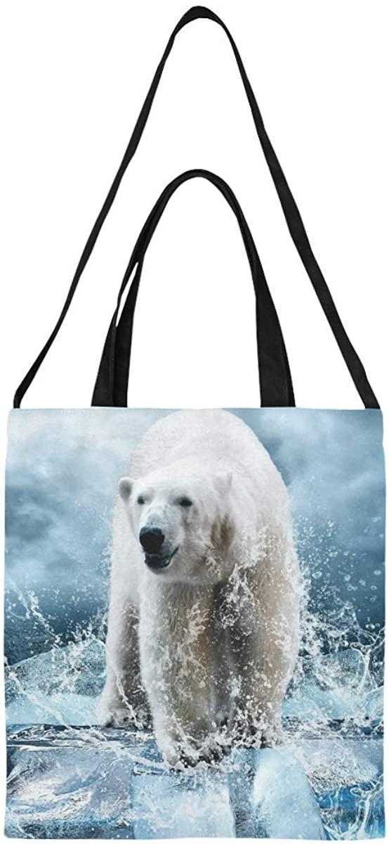 InterestPrint Cute Happy Panda Canvas Tote Bag Casual Bag Travel School Shoulder Bag