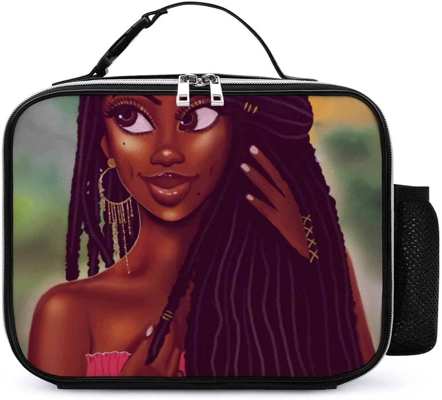 NiYoung Lunch Bag Totebox Moisture Resistant Premium Lunch Container Reusable Gourmet Tote Pouch Organizer African American Women Girl Painting Grocery Container for Women Men Kids Office Work