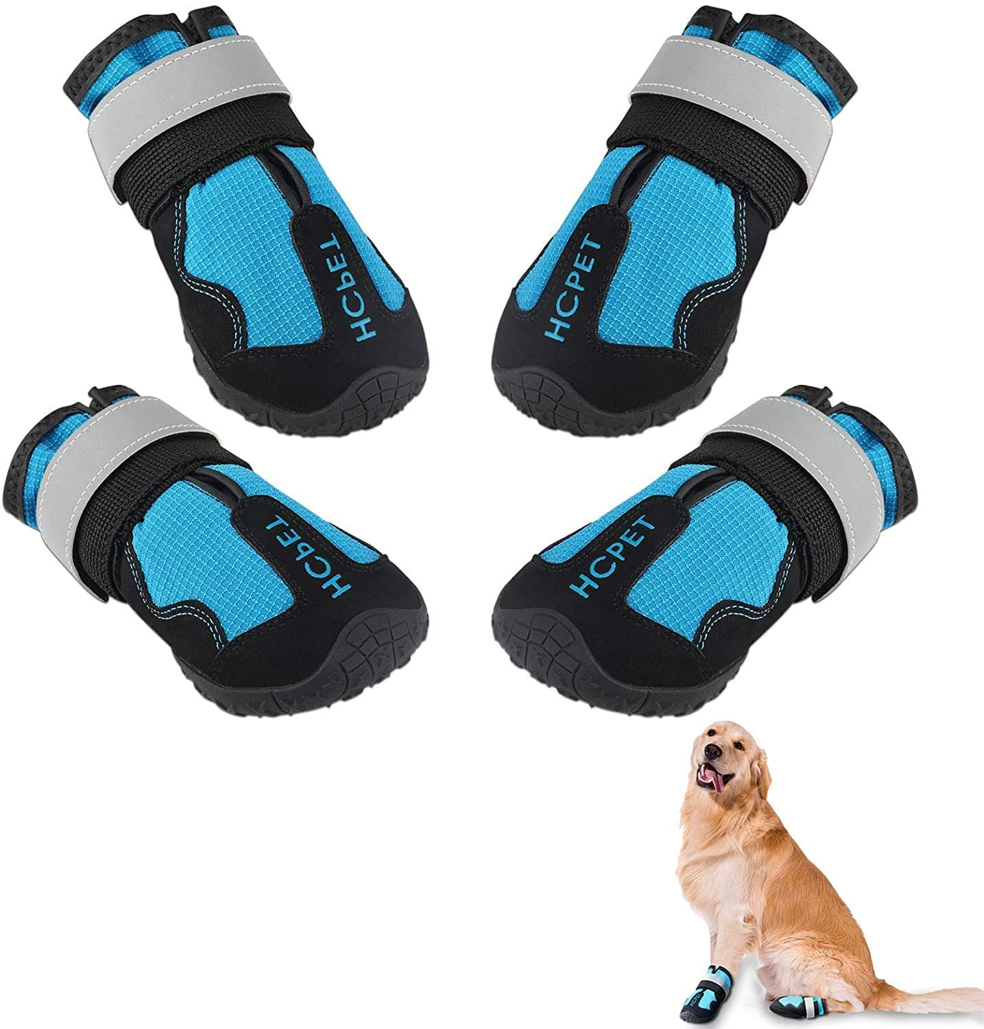 Trevelyan 4 Pcs Dog Boots, Outdoor Waterproof Soft Dog Shoes with Reflective Strip and Adjustable Straps Rugged Anti-Slip Sole