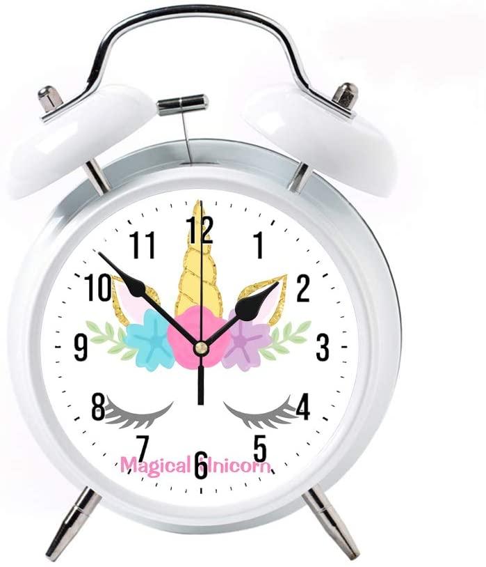 ZEREO 5 Colors Child Portable Cute Round Battery Alarm Clock Desktop Table Bedside Clocks Decor White Alarm Clock Gift Magical Unicorn