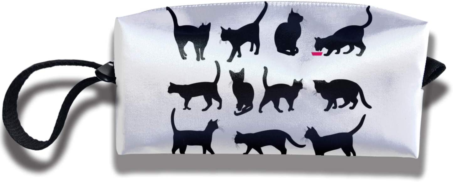 Black Cat Pencil Case Cosmetics Bag Case Purse Travel & Home Portable Make-Up Receive Bag for Girls Boys and Adults