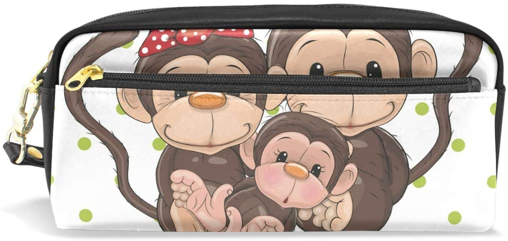 Lovely Monkey Family Dots Leather Student Pencil Case Pen Cosmetic Bag for Girls Makeup Pouch